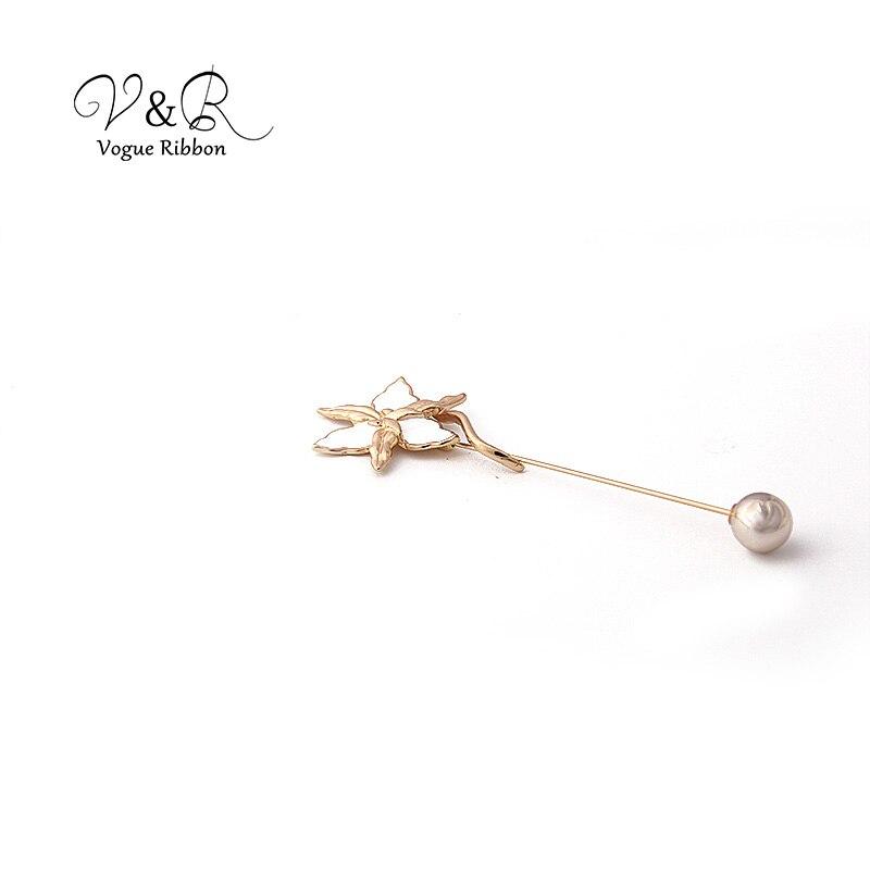 Enamel Flower Long Metal Bar Ball Brooch Pin (3)
