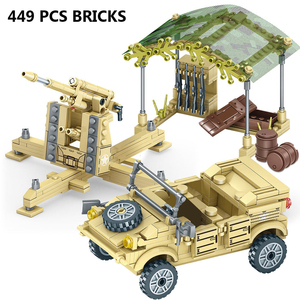 Image 4 - 400+Pcs Toy Blocks Army Soldiers Weapon Building Blocks Military Camp Trucks Jeeps Car Set Blocks  CompatibleToys For Child