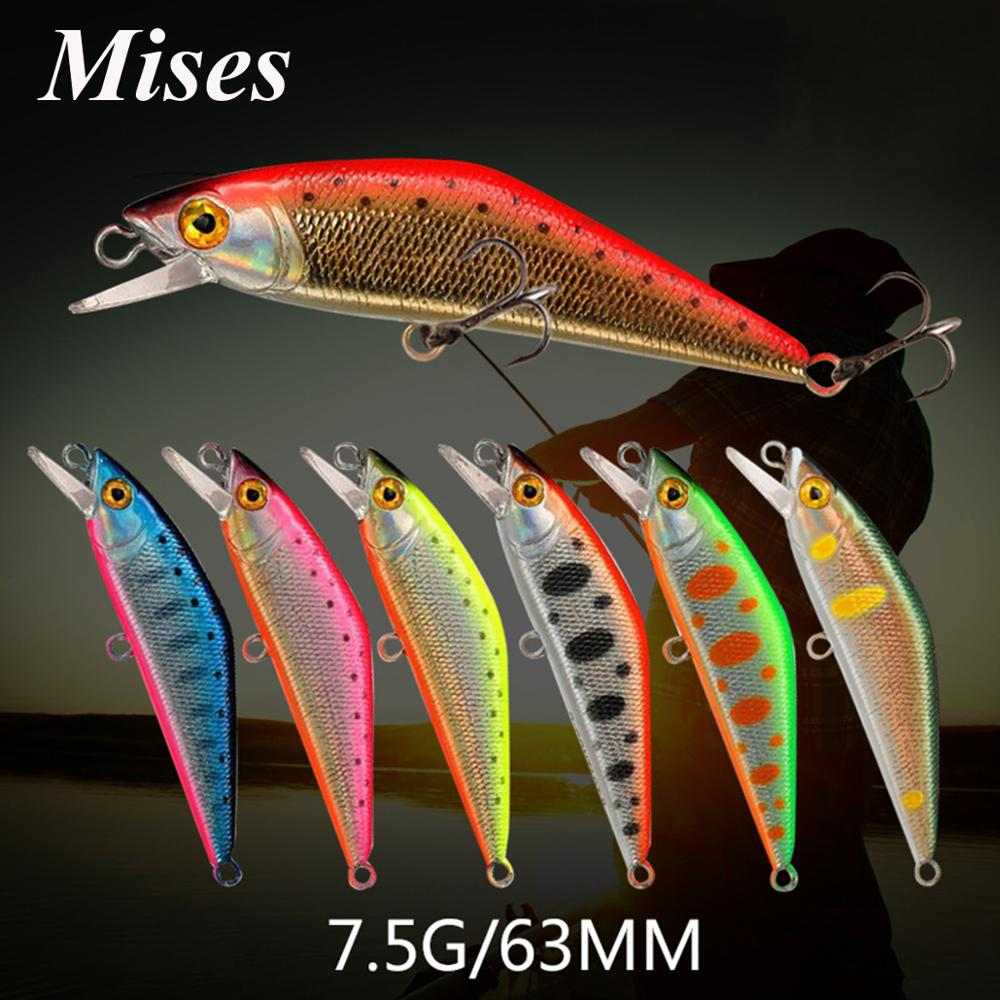 Mises 6.3cm 5.3g Ten Colors Sinking Bionic Minnow Lure 3D Eyes Artificial Plastic Hard Bait Fishing Lure Fishing Tackles