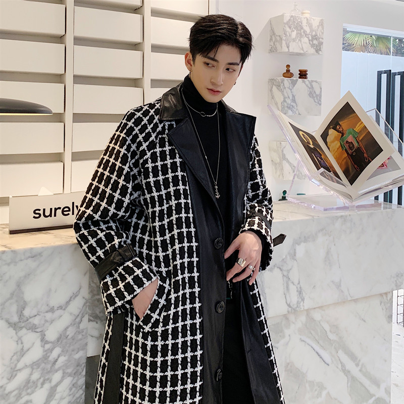 Men Leather Splice Plaid Wool Coat Windbreaker Male Women Streetwear Vintage Fashion Belt Long Overcoat Jacket Lovers Outerwear