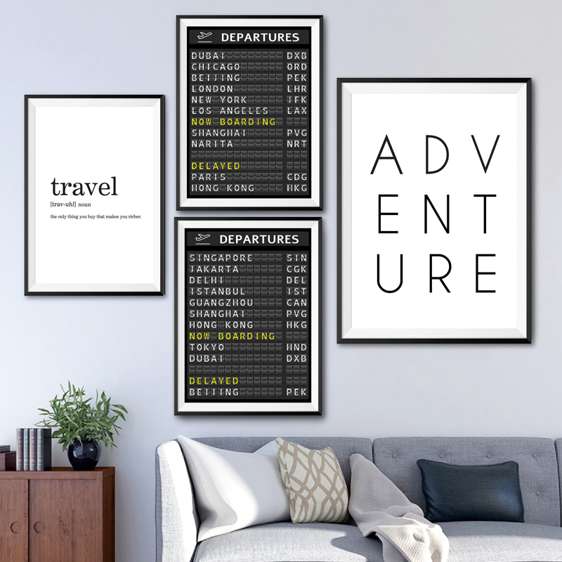 Airport destinations board travel poster