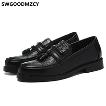 Sapatos de crocodilo homens clássico marca italiana sapatos de negócios dos homens do escritório mocassins elegantes sapatos de couro formal sepatu deslizamento em pria