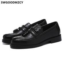 Scarpe in coccodrillo uomo classico marchio italiano scarpe da lavoro uomo mocassini da ufficio eleganti scarpe da uomo in pelle formale Sepatu Slip On Pria