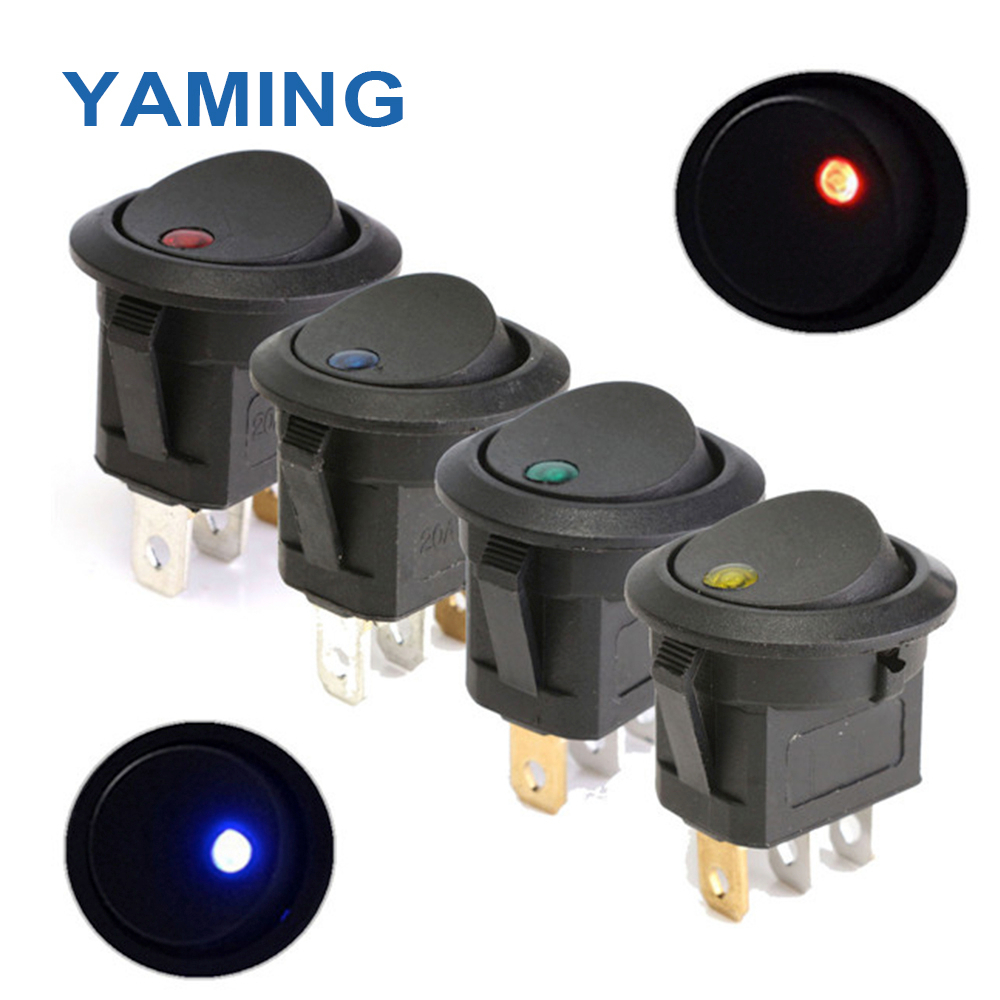 250V Round Rocker Switch Toggle ON-OFF 2 Position 3 Pins Push Button Switches Electrical Equipment With Light Power KCD2