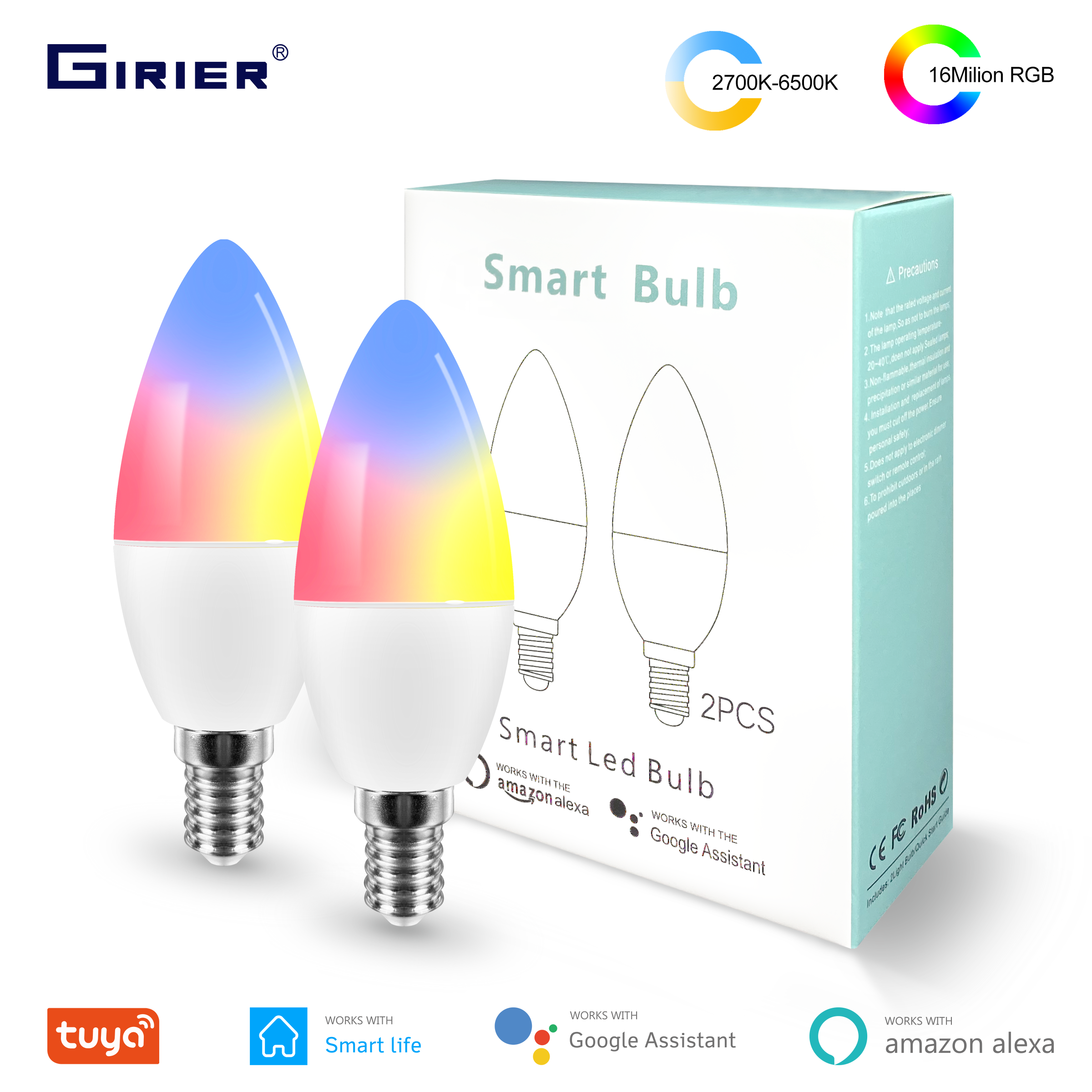 Tuya Wifi inteligente LED Bombilla 4W, Bombilla inteligente regulable E14 RGB 16 millones de colores, Compatible con Alexa Google Home Smart Life