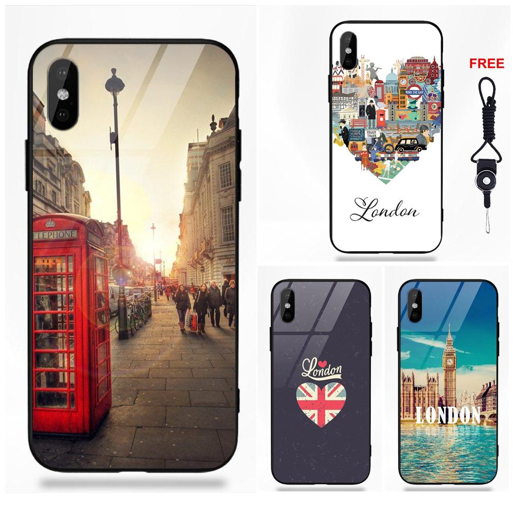 Silicone TPU Frame Tempered Glass Coque Phone Cover Case For Apple iPhone 5 5C 5S SE 6 6S 7 8 Plus X XS Max XR Love London
