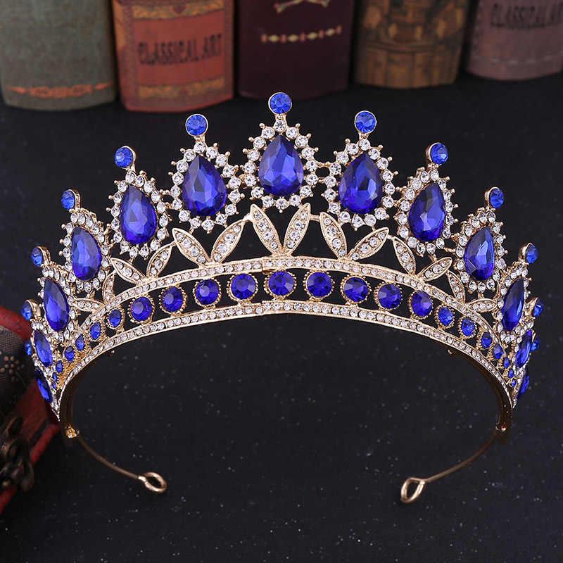 結婚式の王冠ブライダルゴールドプリンセスクラウン花嫁バロックカチューシャレッドブルーグリーンクリスタルティアラやクラウン王冠ヘッド髪の宝石