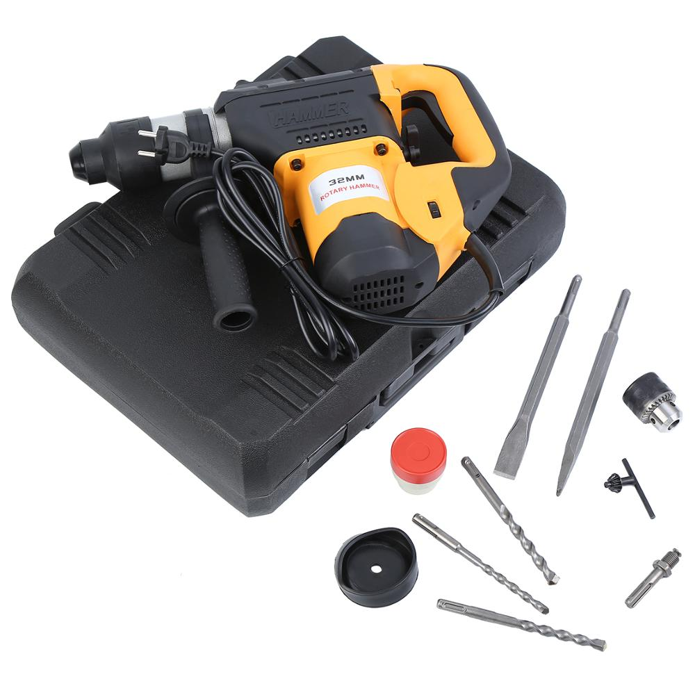 1800W Industrial Electric Hammer Set With Drill Accessories For Wood Metal Tool EU Plug