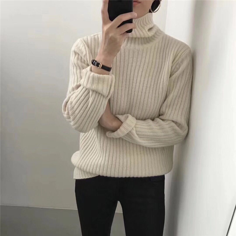 HziriP Casual All Match Turtleneck Gentle Chic Feminine Warm Pullovers Casual Fresh Loose Soft Knitted Women Basic Sweaters