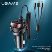 USAMS 3.4A Dual USB Car Phone Quick Charger With 3 IN 1 Usb Type C Cable LED Digital Display For iPhone Xiaomi Huawei Samsung