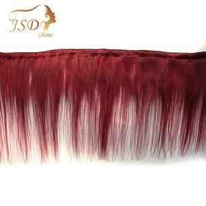 Image 5 - JSDshine mechones de cabello liso brasileño con cierre, rojo 99J, borgoña, mechones de cabello humano, postizo, mechones con cierre no Remy