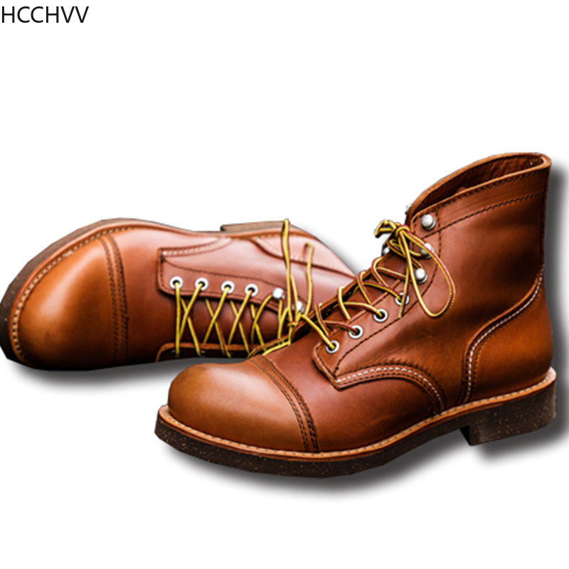 New Spring Autumn Vintage Tooling Dark Wings Male Motorcycle Boots Quality Cow Leather Round Toe Red Men Casual Ankle Boots