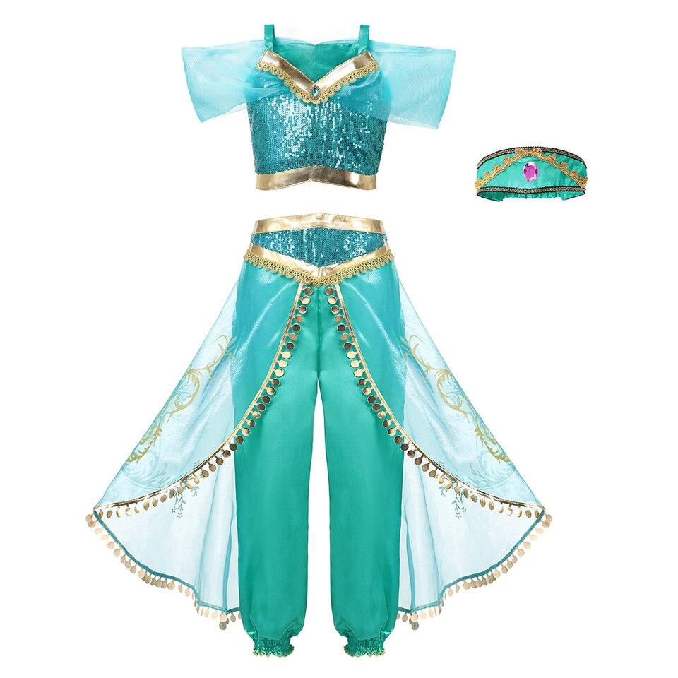 Freebily Girls Jasmine Aladdin Arabian Princess Costumes Halloween Dress Up Party Outfit Crop Top with Sequin Pants Set Sky Blue 3 Years