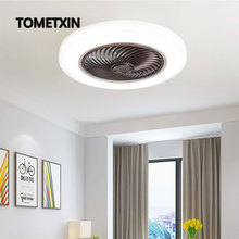 smart ceiling fan light rooftop fans with lights remote control bedroom decor lighting lamp bedroom ventilator Bluetooth Silent cheap TOMETXIN CN(Origin) 5-10square meters Bed Room Study 90-260V None White Ironware + Acrylic LED Bulbs Modern Daily Lighting