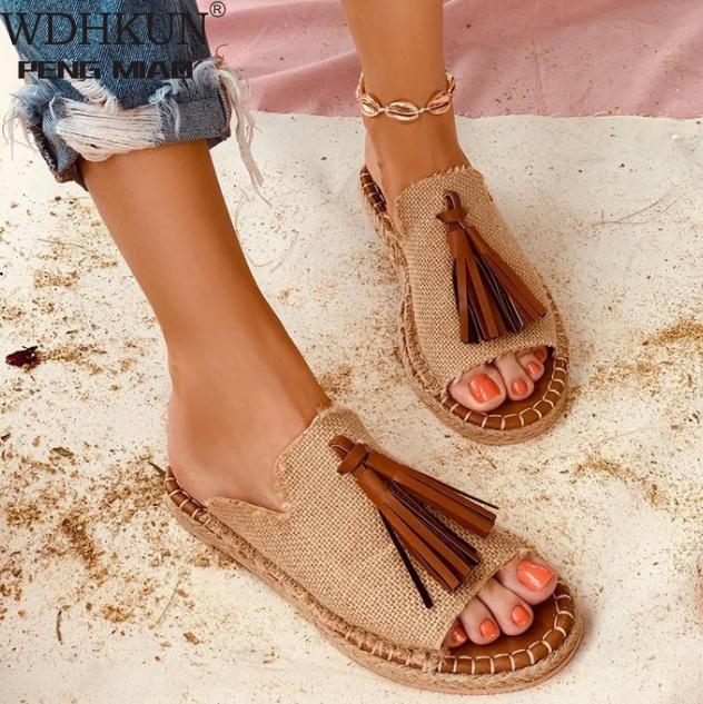 Slipper Women Shoes Sandals Summer 2020 Flat Shoes PU Leather Gladiator Luxury Shoe Women Designers Zapatos De Mujer