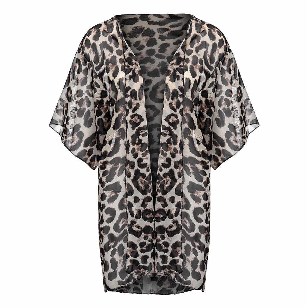 Cubierta informal de leopardo de piel de serpiente Bikini traje de baño de mujer traje de baño de playa vestido de túnica # F