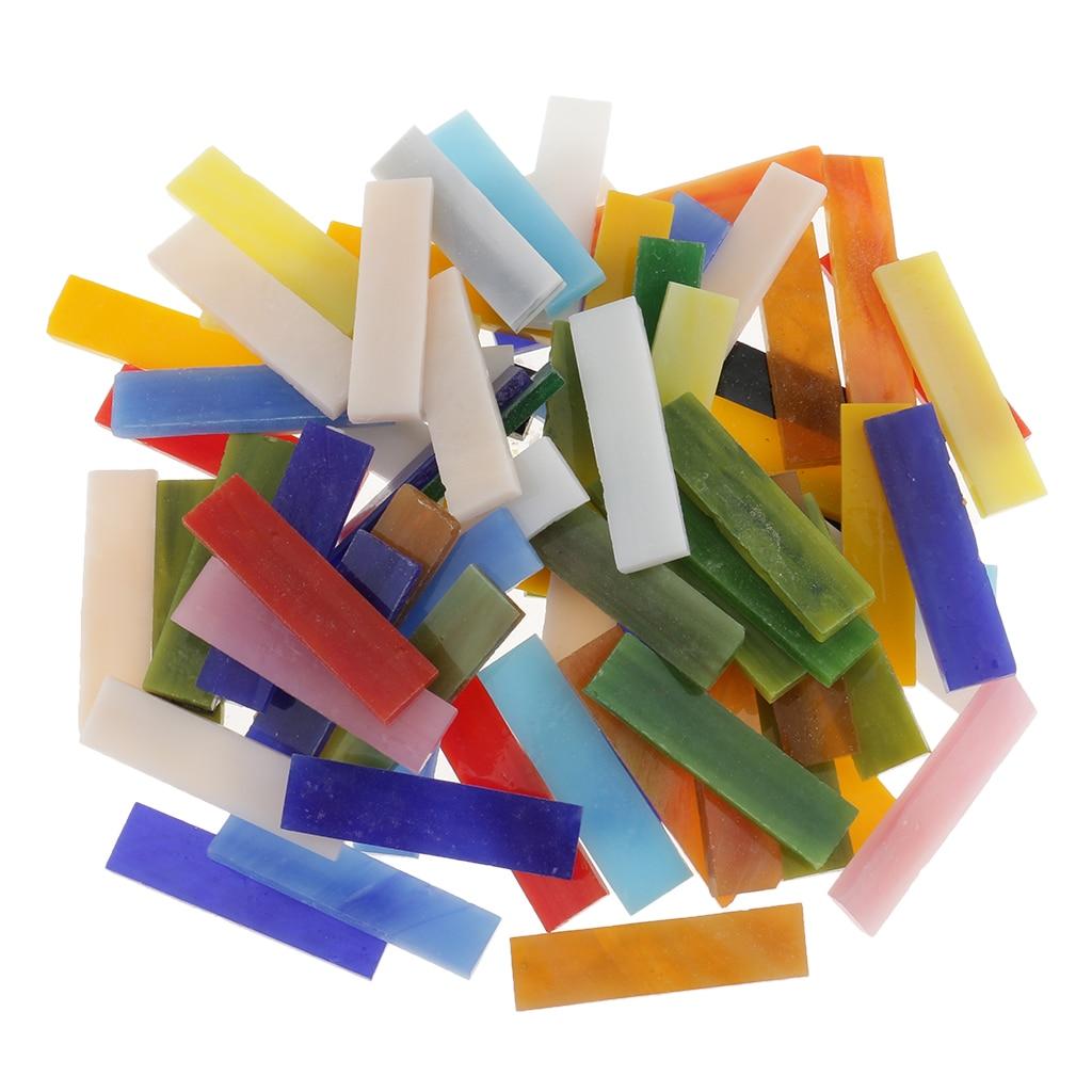 70pcs Rectangle Vitreous Glass Mosaic Tiles Pieces For DIY Crafts Material