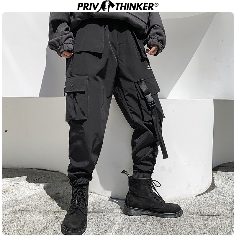 Privathinker Big Pocket Cargo Pants Men's Hip Hop Streetwear Black Thicken Winter Trousers 2019 Man Women Baggy Joggers Pants