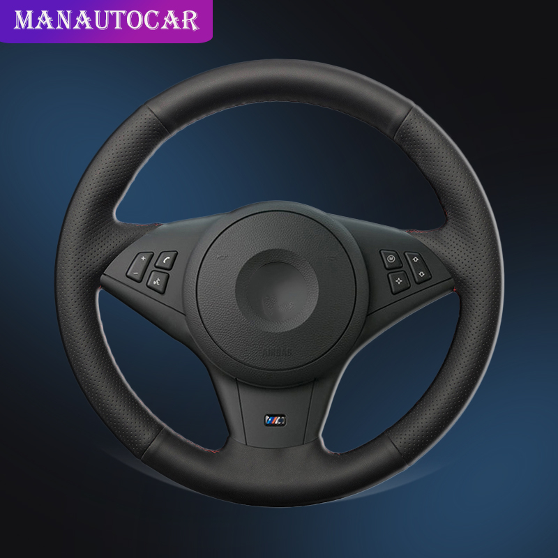 Car Braid On The Steering Wheel Cover for <font><b>BMW</b></font> <font><b>E60</b></font> 530i 530d <font><b>545i</b></font> 550i E61 Touring 2005-2009 E63 E64 630i 645Ci 635D Auto Cover image