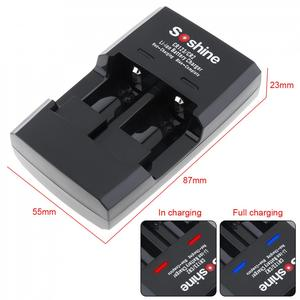 Image 4 - Умное зарядное устройство Soshine с 2 слотами для литий ионных батарей RCR123 / RCR2 Rapid, со светодиодным индикатором для аккумуляторов 14250 CR2 16340 17335 15266