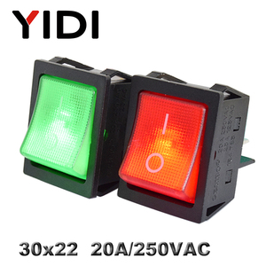 Image 2 - KCD4 201 30x22 30A 250VAC 헤비 듀티 KCD4 로커 스위치 20A 250VAC DPST ON OFF 래칭 12V 220V 적색 녹색 청색 LED 조명
