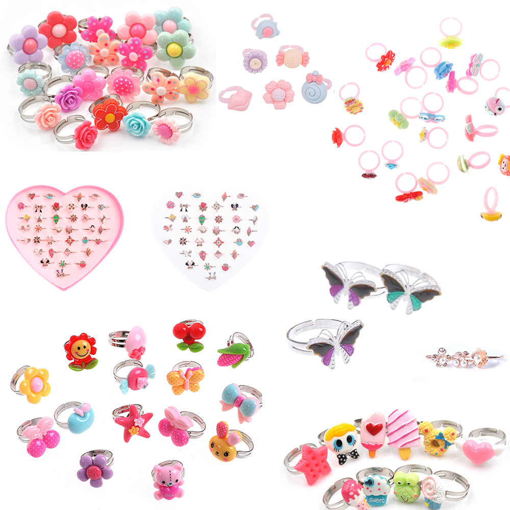 1/2/5/6/10Pcs/lot Adjustable Cartoon Rings For Girls Dress Up Accessories Party Kids DIY Craft Toy Random Color