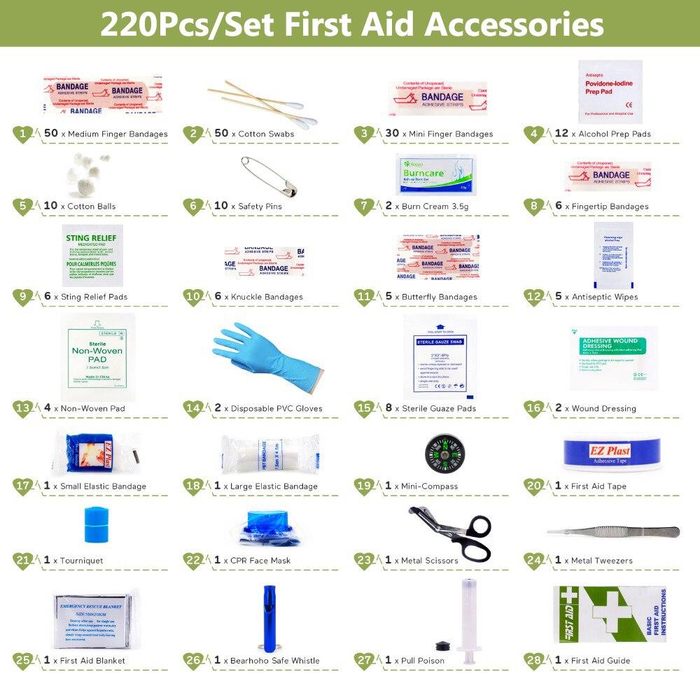 220pcs de Primeiros Socorros Kit DIY Bandagem Triangulaire Almofada Da Ferida Fita Adesiva Médica para a Casa de Viagem Acampamento Ao Ar Livre Kits de Primeiros Socorros acessórios