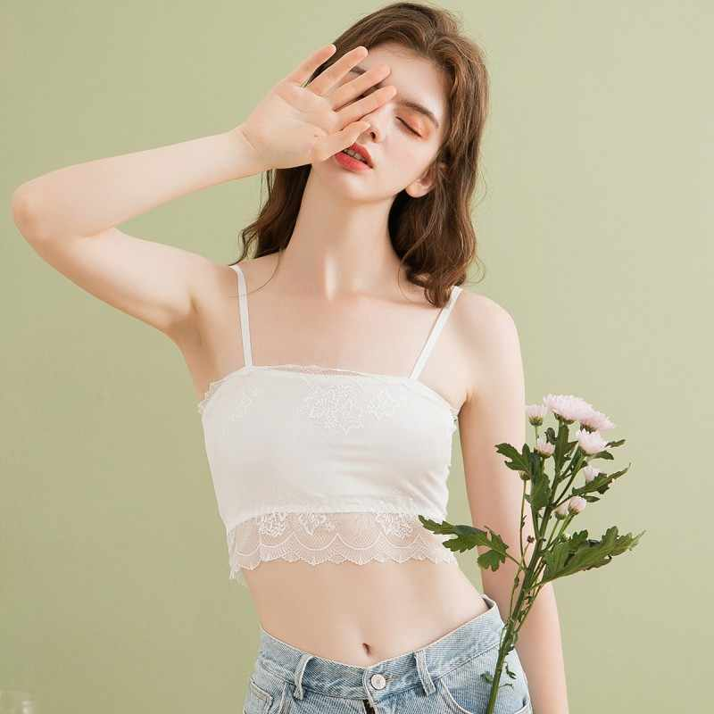 Fenteng Zomer Vrouwen Solid Lace Lingerie Causale Basic Ondergoed Vrouwelijke Bralette Korte Tops S98160134