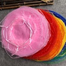 50 шт 35 см диаметр тюль ткань шнурок мешок Свадьба Рождество День рождения конфеты подарок дисплей мешок круглый органза мешок 6zsh838
