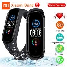 Оригинальный Смарт браслет Xiaomi Mi Band 4 5 с цветным AMOLED экраном Mi Band 5, Bluetooth трекер, пульсометр, фитнес браслет