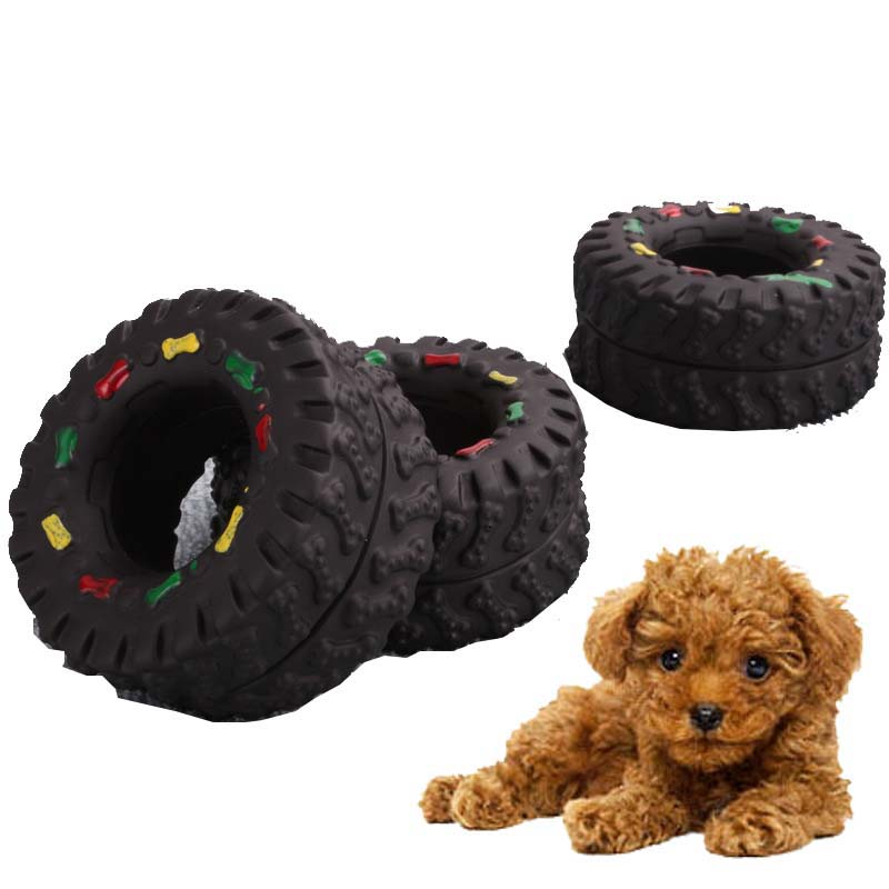 OnnPnnQ Elasticity Tire Dog Cat Toy Squeak Sound Chew Treat Holder Funny Puppy Training molar Toys Dog Interactive Pet Supplies2