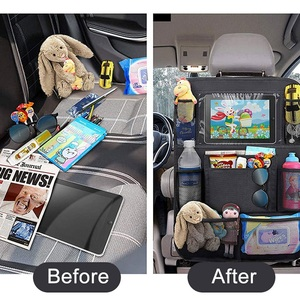 Image 2 - Car Backseat Organizer with Touch Screen Tablet Holder + 9 Storage Pockets Kick Mats Car Seat Back Protectors for Kids Toddlers