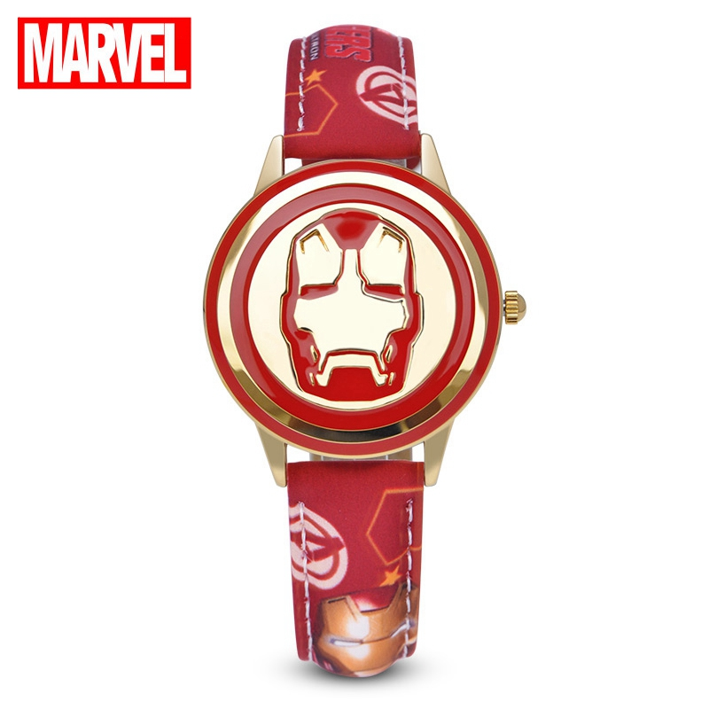 Marvel Avengers Iron Man Stark Children Watches Red Black Brave Hero Clock Needle Luminous Wristwatch Disney Boy Teen Flip Clock