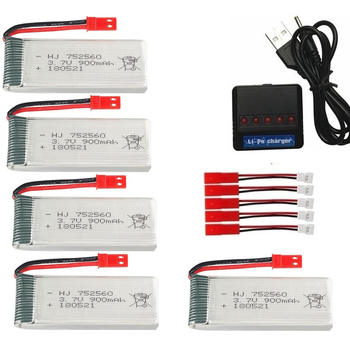 JST 3,7 V 900mah batería recargable + cargador para X5 X5C X5SC X5SW 8807 8807W A6 A6W M68 piezas de recambio de drones RC 3,7 V batería lipo