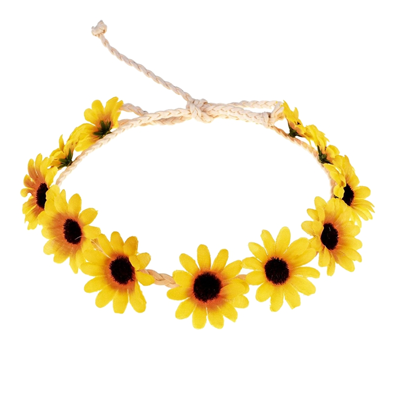 Floral Autumn Sunflower Crown Hair Accessories Bridal Tiara Holiday Hair With Sunflower Hair Accessories