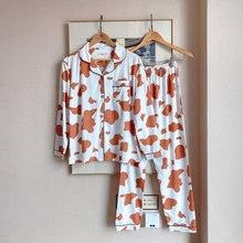 Женская пижама с рукавом весенняя Пижама женская Хлопковая отложным