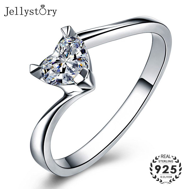 Jellystory Romantic 925 Silver Ring With 5*5mm Heart-shape Zircon Gemstones Fine Jewelry For Women Wedding Party Gifts Wholesale