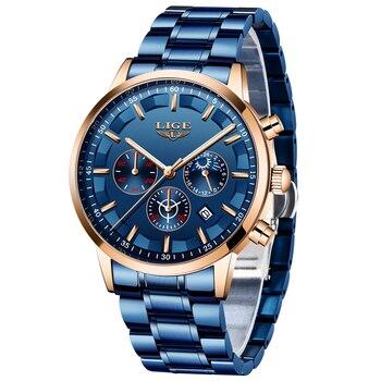 Часы LIGE мужские, модные, синие, новые, стальные, мужские, люксовый бренд, мужские, водонепроницаемые, кварцевые, спортивные, Хронограф + короб...