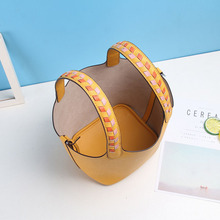 2020 New Bordered Pattern Top-handle Genuine Leather Basket Bag