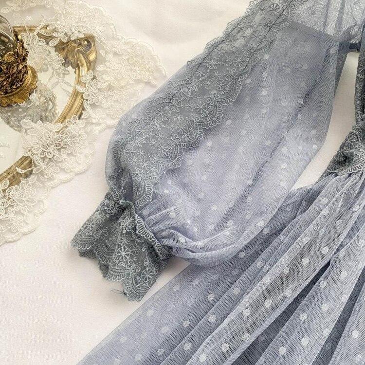 Lace Floral V-Neck Long Sleeve Polka Dot Dress 21