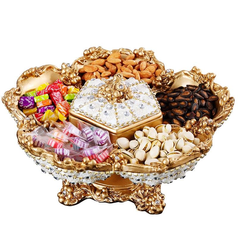 Assiette de fruits créative européenne Top qualité | Strass fait à la main, assiette de luxe fruits secs assiette en céramique bibelot plateau à Snack