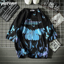 Mens Tees Short-Sleeve Oversized t-Shirts Casual Tops Streetwear Hip-Hop Harajuku Blue Butterfly