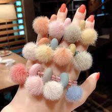 Женские резинки для волос эластичные с плюшевым шариком девушек