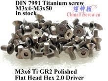 DIN 7991 parafusos De Titânio M3x4 M3x5 M3x6 M3x7 M3x8 M3x10 M3x12 M3x14 10 pcs Ti GR2 Cabeça Chata Hex 2.0 Driver Polido