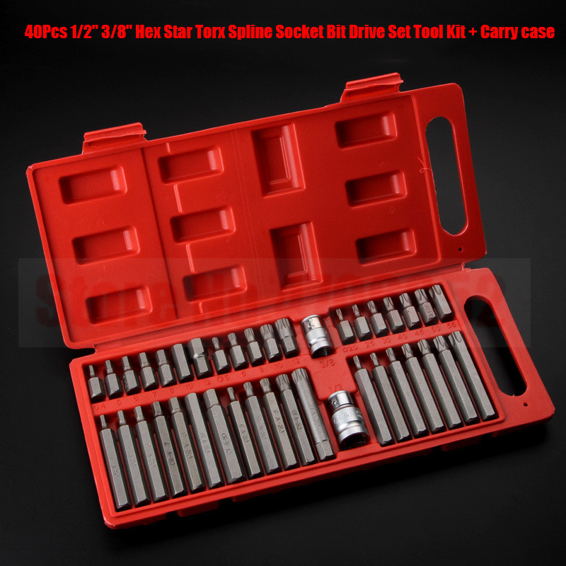 40pcs Torx Star Spline Hex Allen Key Socket Bit Set 3/8 & 1/2 Drive Long Deep