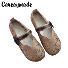 Careaymade-Small Fresh Summer Mesh Air-permeable Womens Single Shoes,Round Head Literature and Art Leisure Flat-soled Shoes
