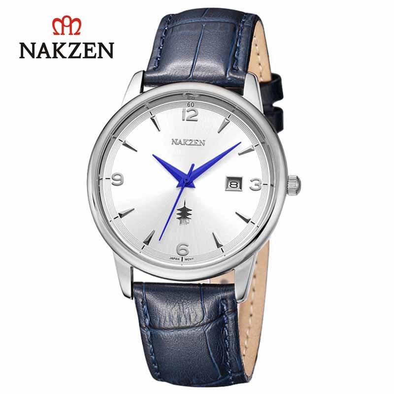 Купить nakzen роскошные кварцевые часы для мужчин кожаные наручные
