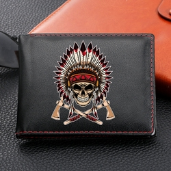 Indian Old Man Retro Portrait Design Leather Wallets Bifold Short Coin Purses Credit Card Holder Male Purse carteira masculina