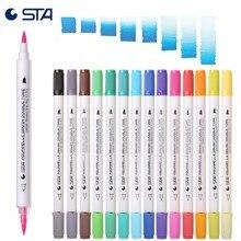 STA 14pcs/28 צבעים צבעי מים כפולה מברשת סמני 28 זיקית אמנות צבע רך קליגרפיה עטי אקוורל סמנים