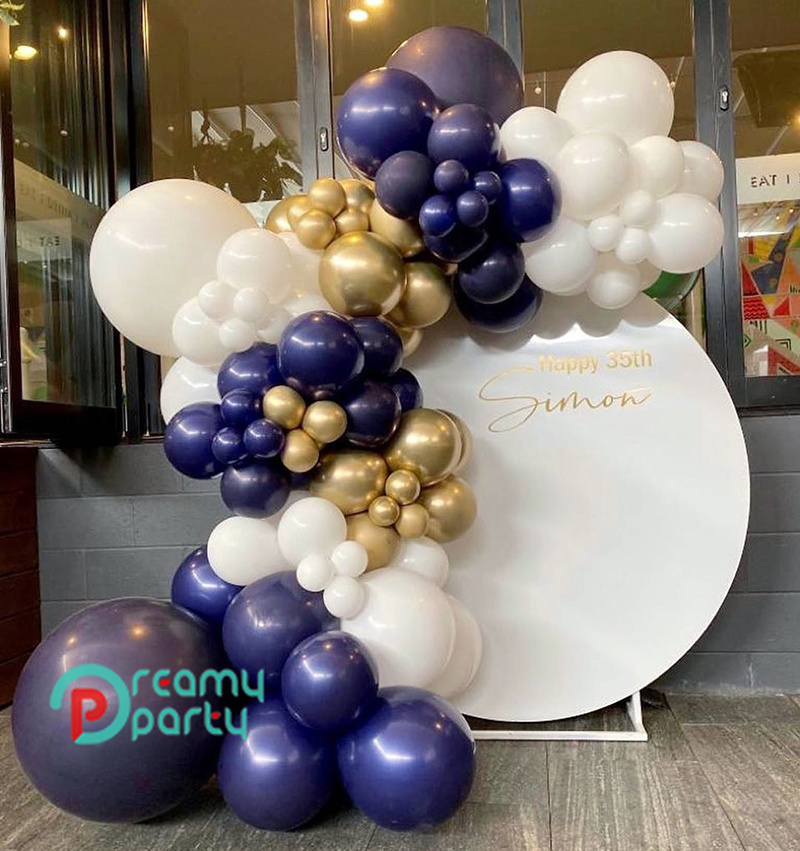 Navy Blue Metallic Gold Balloons Garland Arch Kit Birthday Wedding